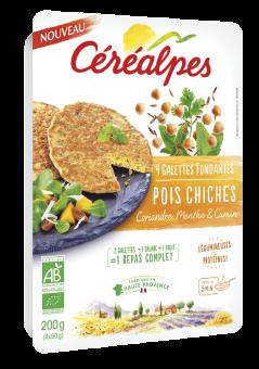 Galettes fondantes pois chiches, coriandre, menthe et cumin BIO, Céréalpes (x 4, 200 g)