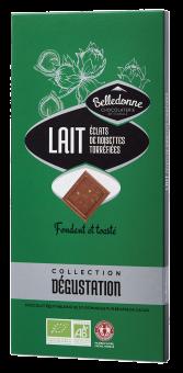 Chocolat au lait aux éclats de noisettes torréfiées BIO, Belledonne (100 g)