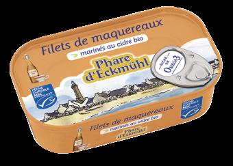 Filets de maquereaux marinés au cidre, en boite 1/6, Phare d'Eckmuhl (118 g)