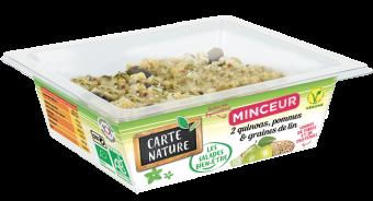 Deux quinoas, pommes et graines de lin Minceur BIO, Carte Nature (160 g)