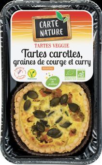 Tartes carottes, graines de courge et curry BIO, Carte Nature (230 g)