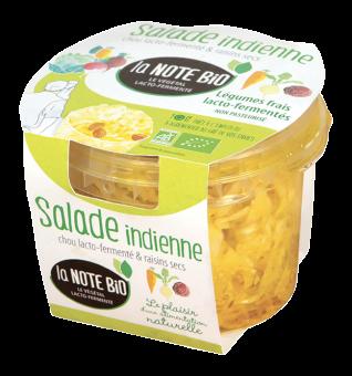 Salade indienne, chou lacto-fermenté et raisins secs BIO, La Note Bio (180 g)