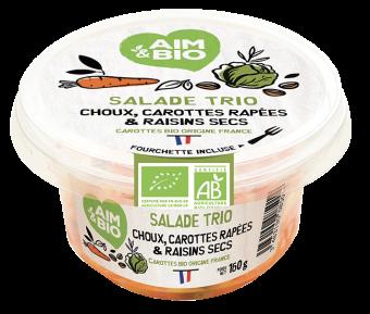 Salade trio carotte, chou, raisin BIO, AIM&BIO (160 g)
