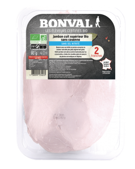 Jambon cuit supérieur découenné et dégraissé sans sel nitrité BIO, Bonval (2 tranches, 90 g)