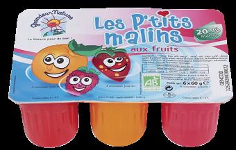 Les P'tits Malins BIO, fromage frais aux fruits, 2,8 % MG, Grandeur Nature (x 6, 360 g)