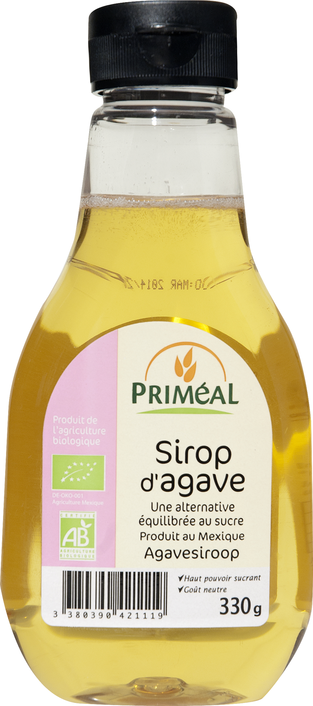 Sirop d'agave BIO, Priméal (330 g)