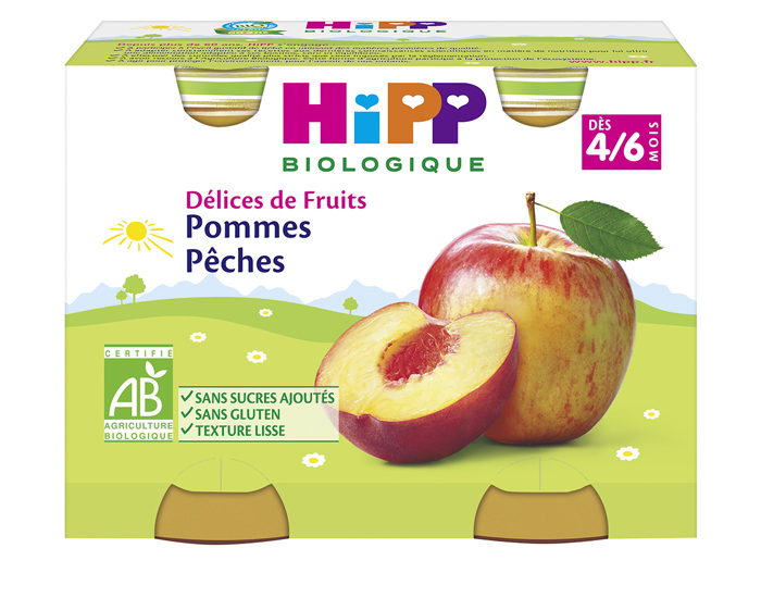 Délices de fruit pomme, pêche BIO - dès 4/6 mois, Hipp (2 x 190 g)