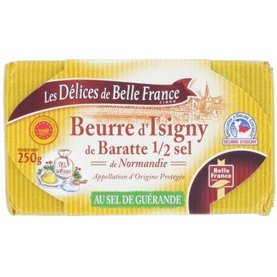 Beurre baratte moulé au sel de Guerande d'Isigny, Délice de Belle France (250 g)