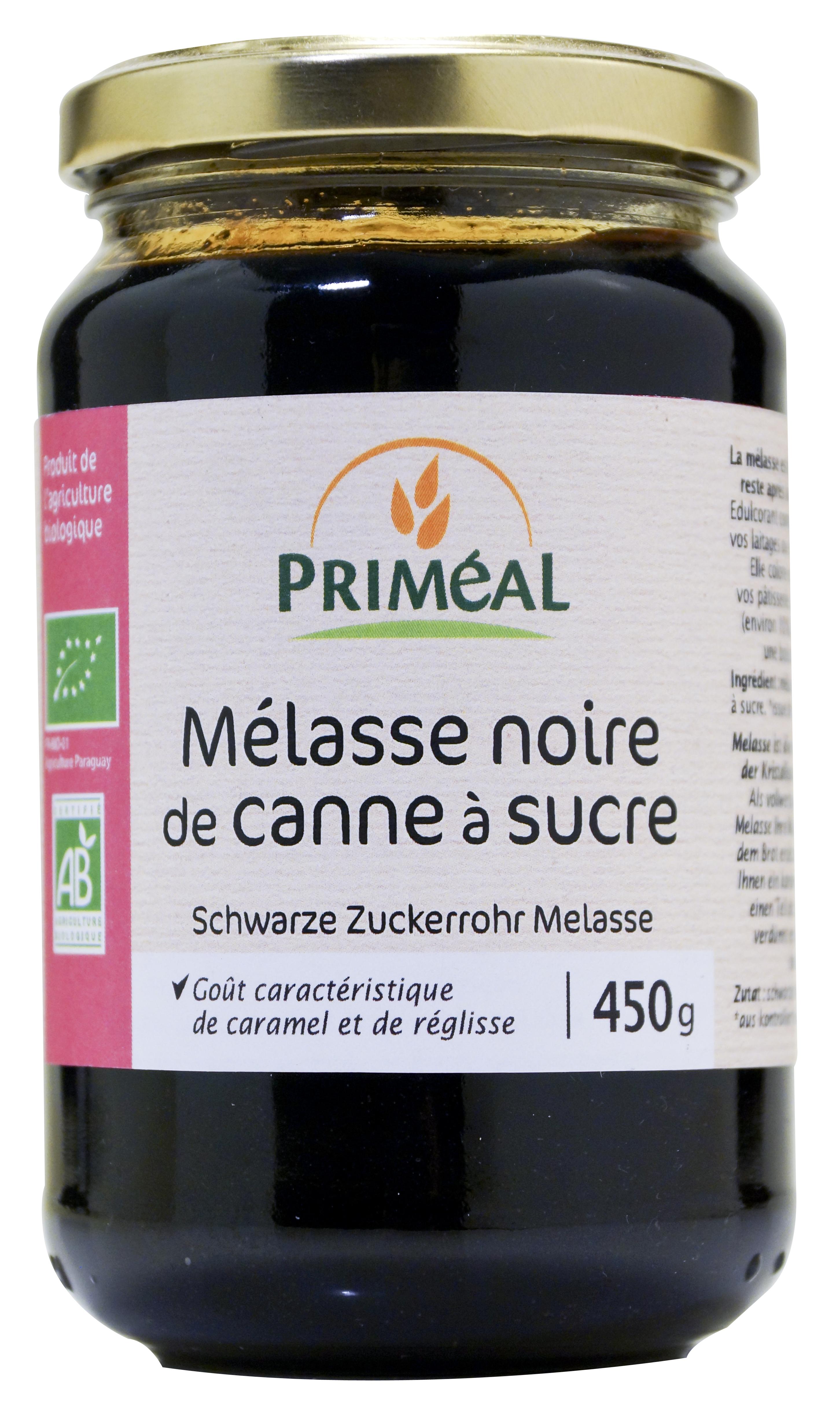 Mélasse noire de canne à sucre BIO, Priméal (450 g)