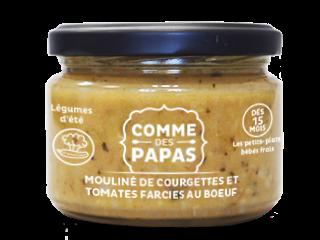 Mouliné de courgettes et tomates farcies au boeuf BIO - 15 mois Comme des Papas (230 g)