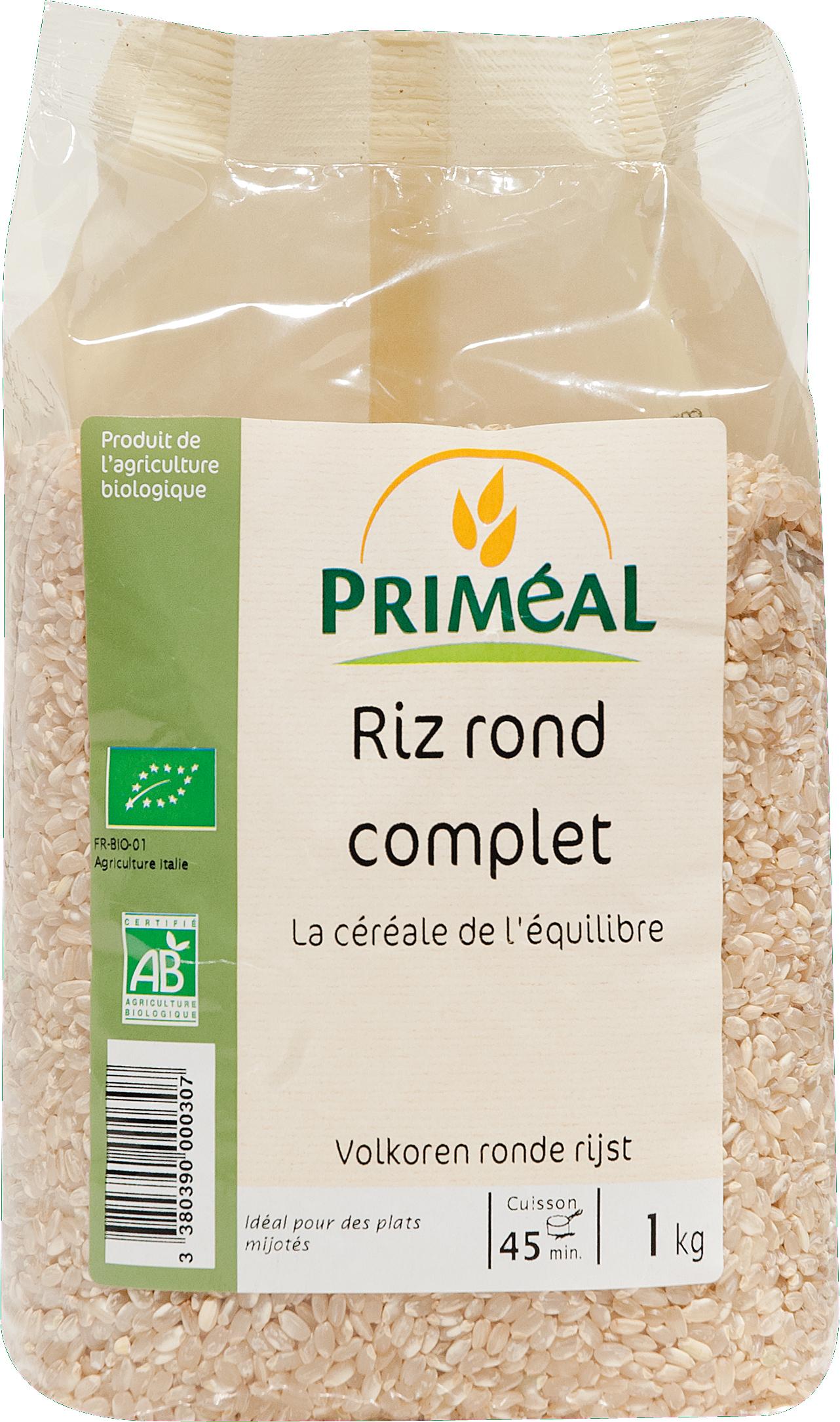 Riz rond complet BIO, Priméal (1 kg)