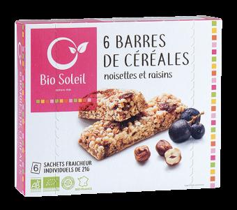 Barres de céréales noisettes et raisins BIO, Bio Soleil (x 6, 125 g)