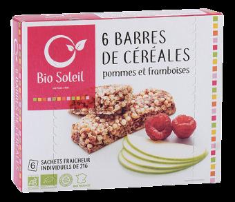 Barres de céréales pommes et framboises BIO, Bio Soleil (x 6, 125 g)