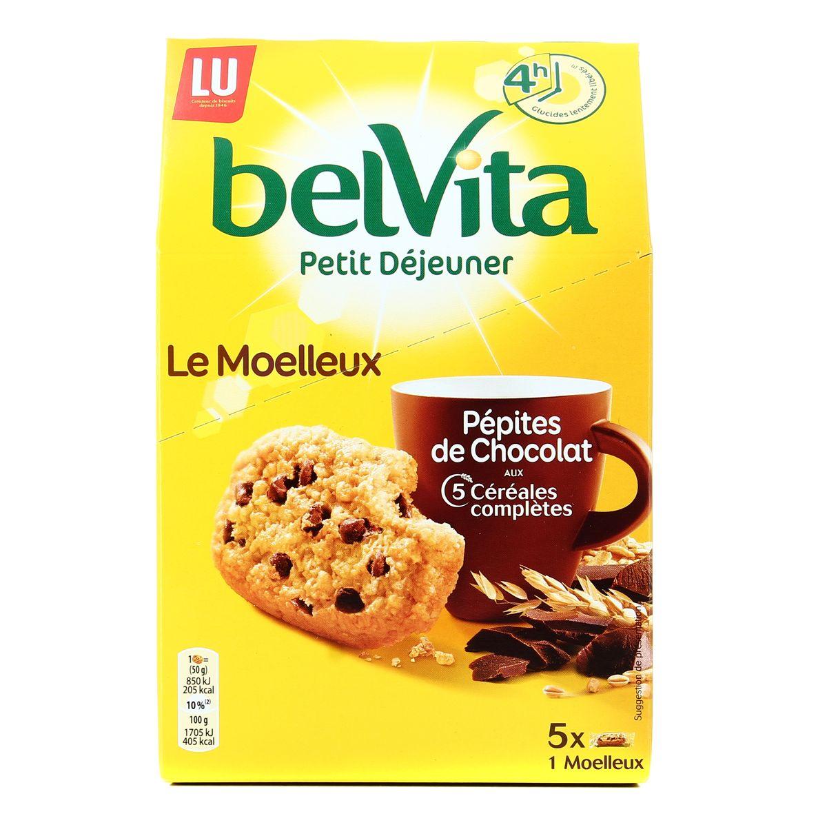 Belvita Petit déjeuner Le Moelleux pépites de chocolat, Lu (250 g)