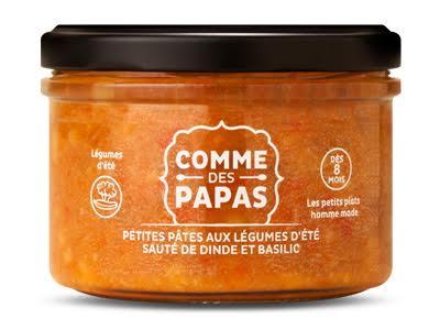 Petites pâtes aux légumes d'été, sauté de dinde et basilic BIO - 8 mois Comme des Papas (180 g)