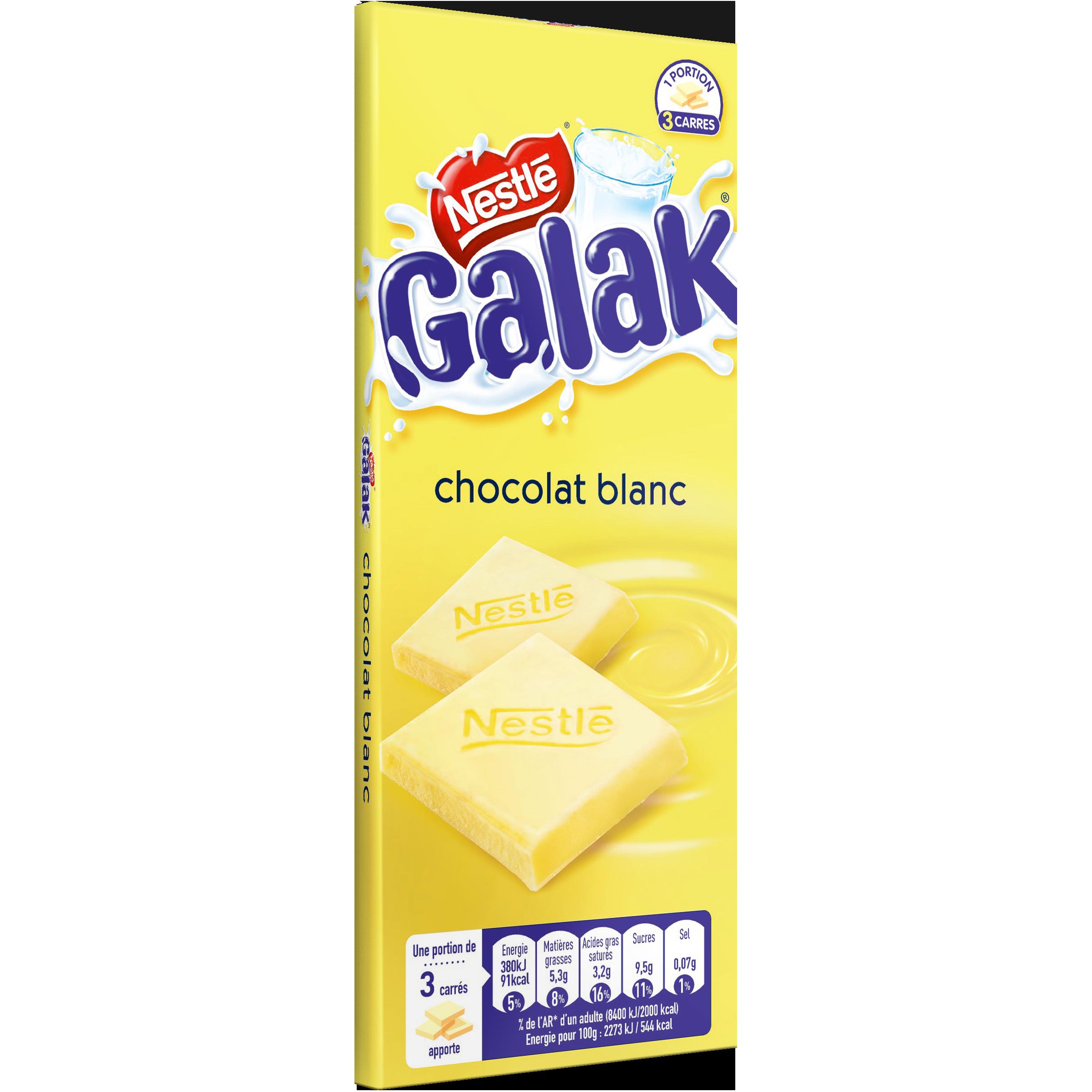 Chocolat blanc Galak, Nestlé (100 g)