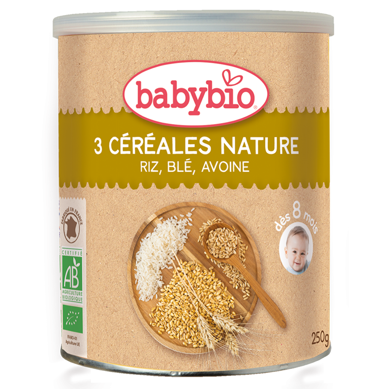 3 céréales nature riz, blé, avoine BIO - dès 8 mois, Babybio (250 g)