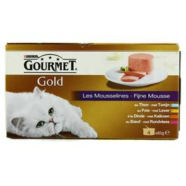 Les Mousselines multivariétés pour chats adultes, Gourmet Gold (4 x 85 g)