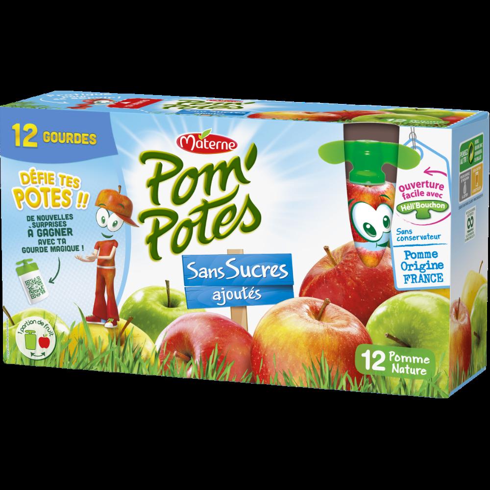 Pom'Potes sans sucres ajoutés pomme, Materne (12 x 90 g)