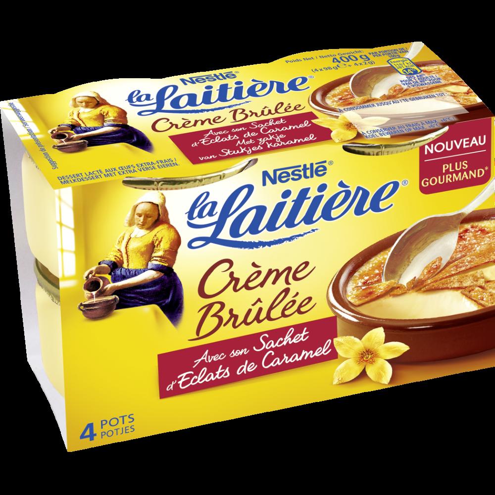Crème brûlée avec sachet éclats de caramel, La Laitière (4 x 100 g)