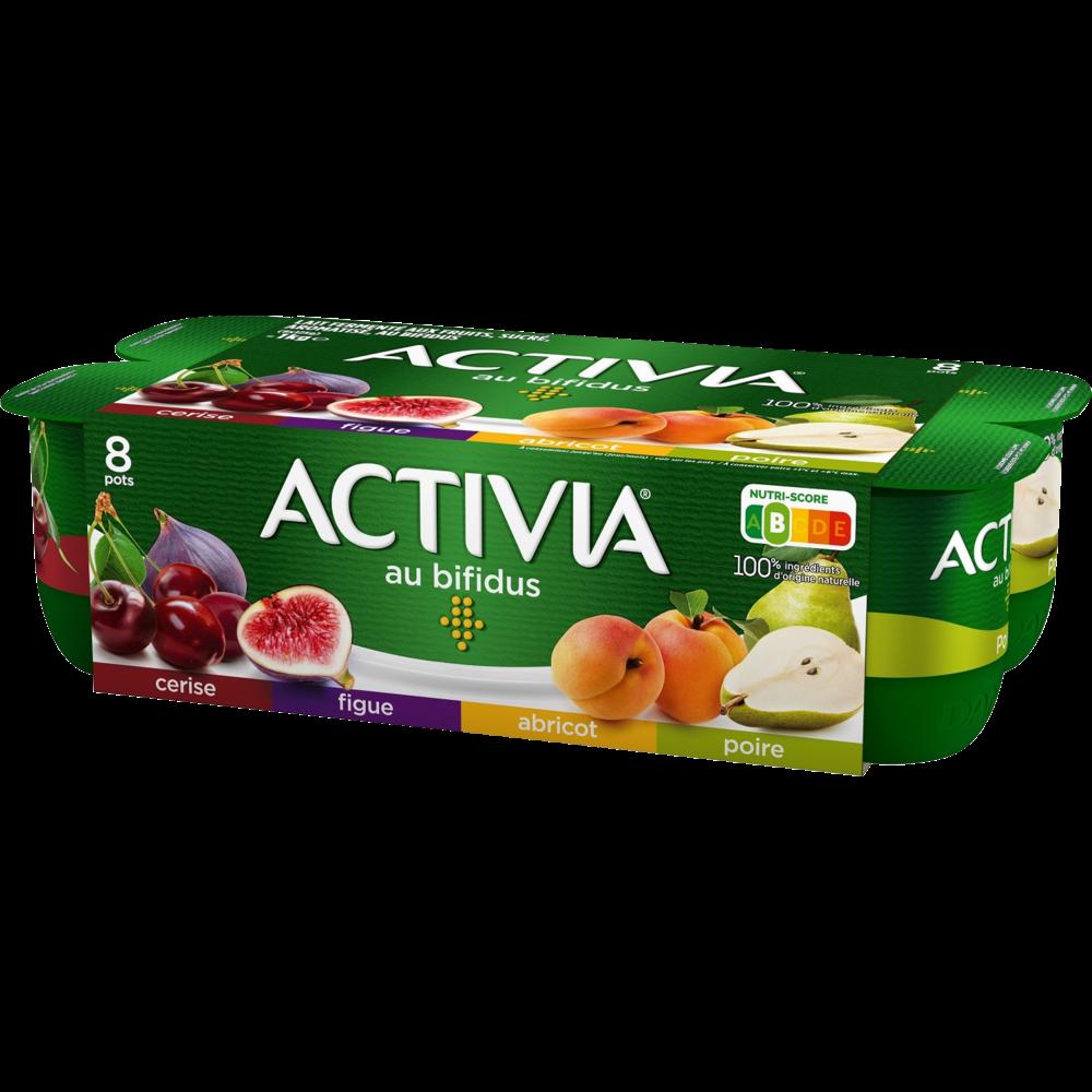 Yaourt aux fruits panachés : abricot / poire/ figue/ cerise, Activia  (8 x 125 g)
