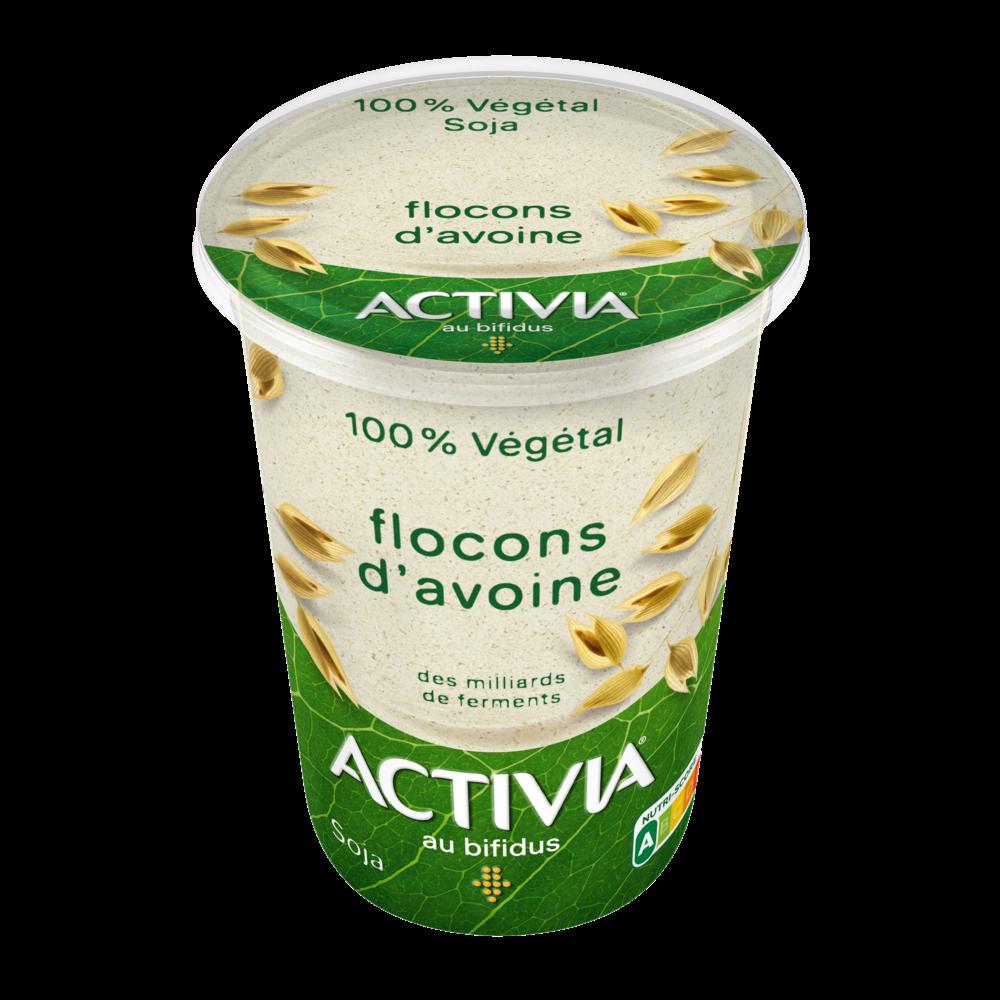Yaourt fermenté au soja et flocons d'avoine 100% végétal, Activia (400 g)