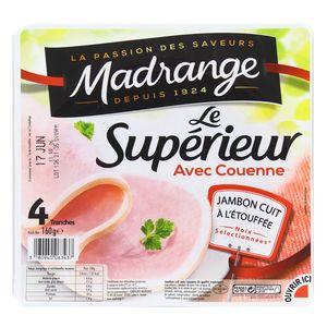 Jambon Le supérieur cuit à l'étouffée avec couenne, Madrange (4 tranches, 160 g)