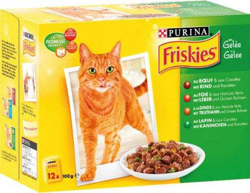 Gelée pour chat au bœuf/ foie/ dinde/ lapin, Friskies Purina (12 x 100 g)