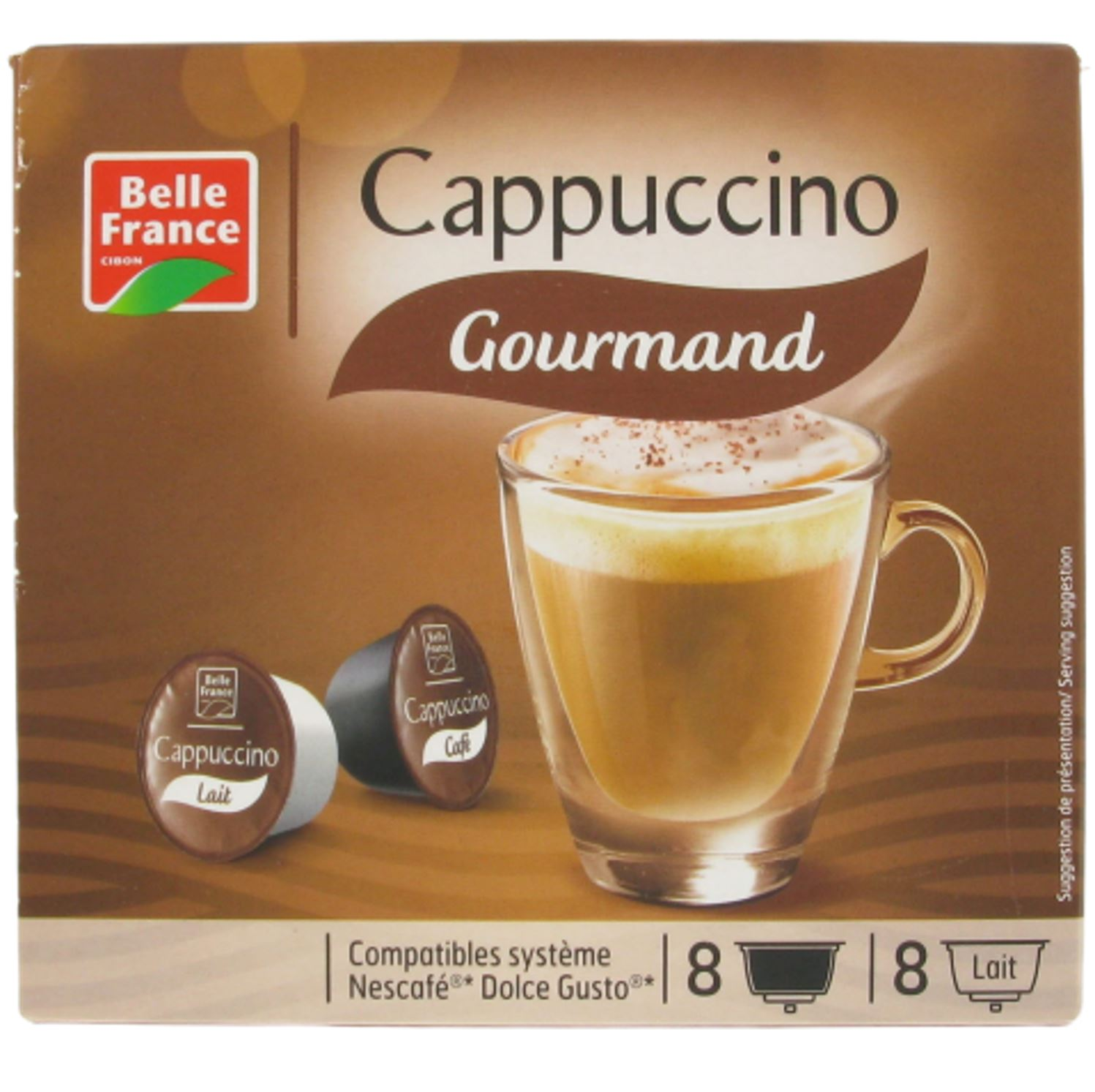 Café capsule cappuccino gourmand compatible Dolce Gusto, Belle France (x 8)