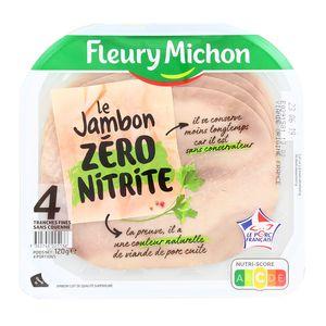 Jambon zéro Nitrite tranche fine, Fleury Michon (4 tranches, 120 g)