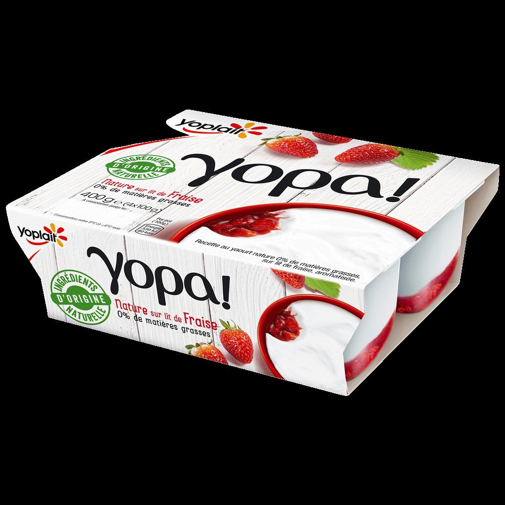 Yaourt yopa sur lit de fraises, 0% MG, Yoplait, (4 x 100 g)