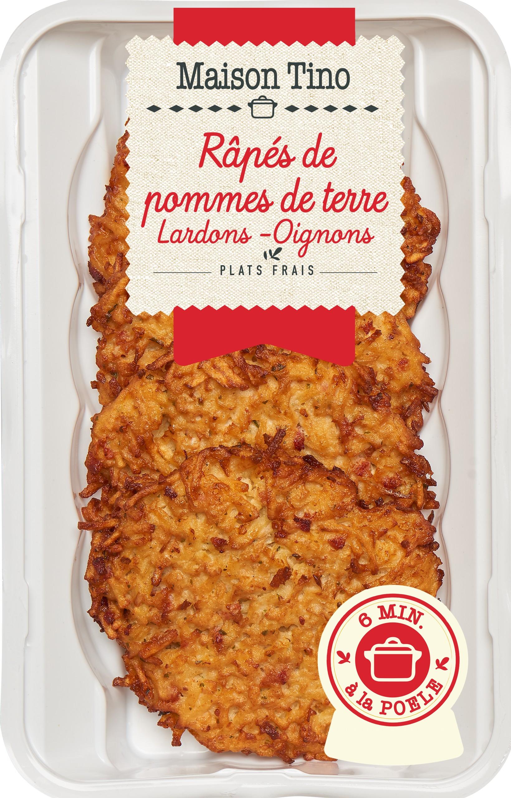 Râpés de Pommes de terre Lardons et Oignons, Maison Tino (4 x 110 g)