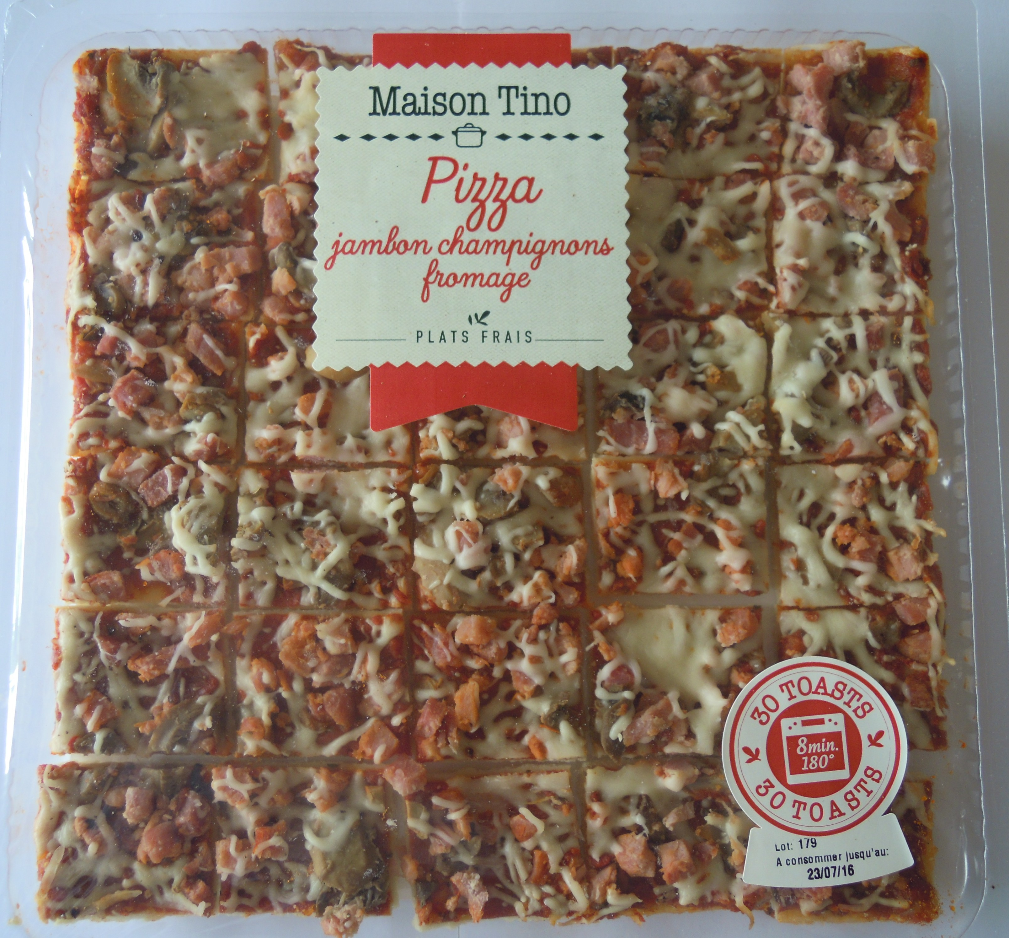 Pizza Jambon et Fromage, Maison Tino (x 30 toasts, 400 g)