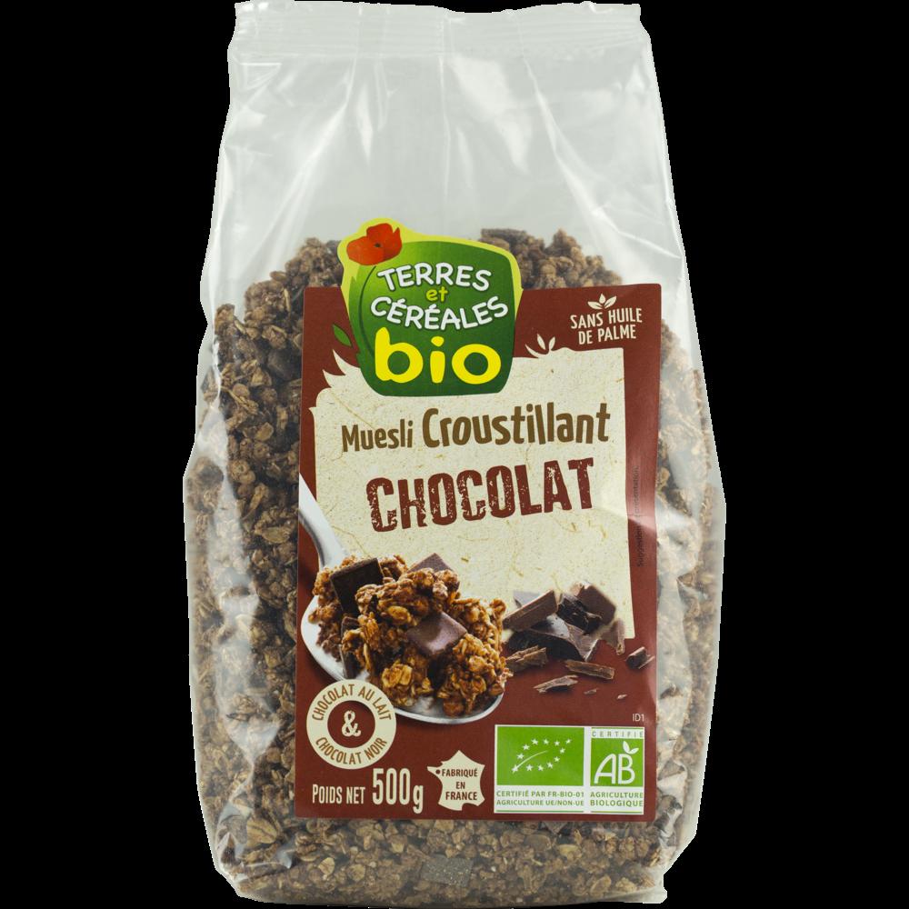 Muesli croustillant au chocolat BIO, Terre & Céréales (500 g)
