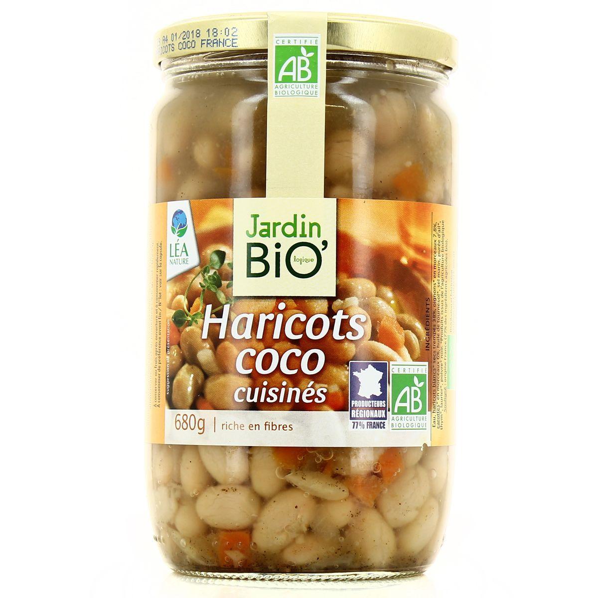 Haricots coco cuisinés BIO, Jardin Bio (680 g)