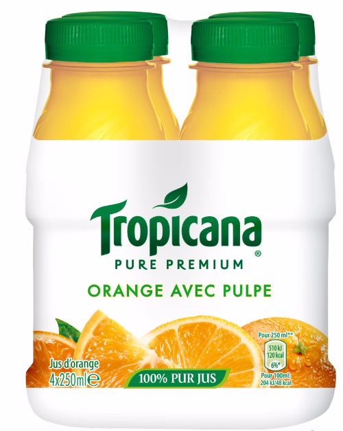 Pur jus d'orange avec pulpe Pure Premium, Tropicana (4 x 25 cl)
