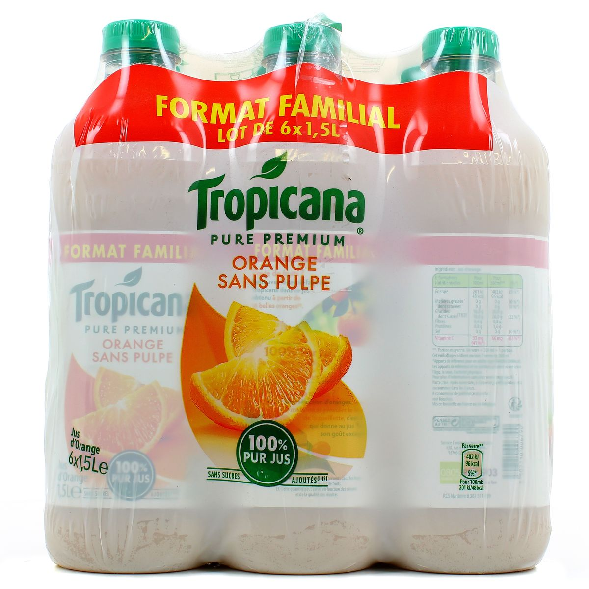 Jus d'orange sans pulpe Pure Premium, Tropicana (6 x 1,5 L)