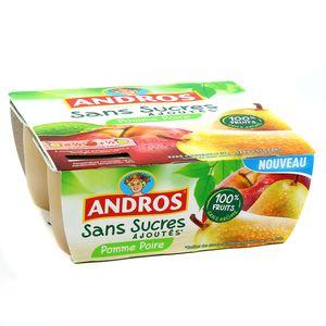 Compote pomme/poire sans sucres ajoutés, Andros (4 x 100 g)