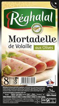 Mortadelle de dinde et olive Halal, Reghalal (8 tranches, 120 g)