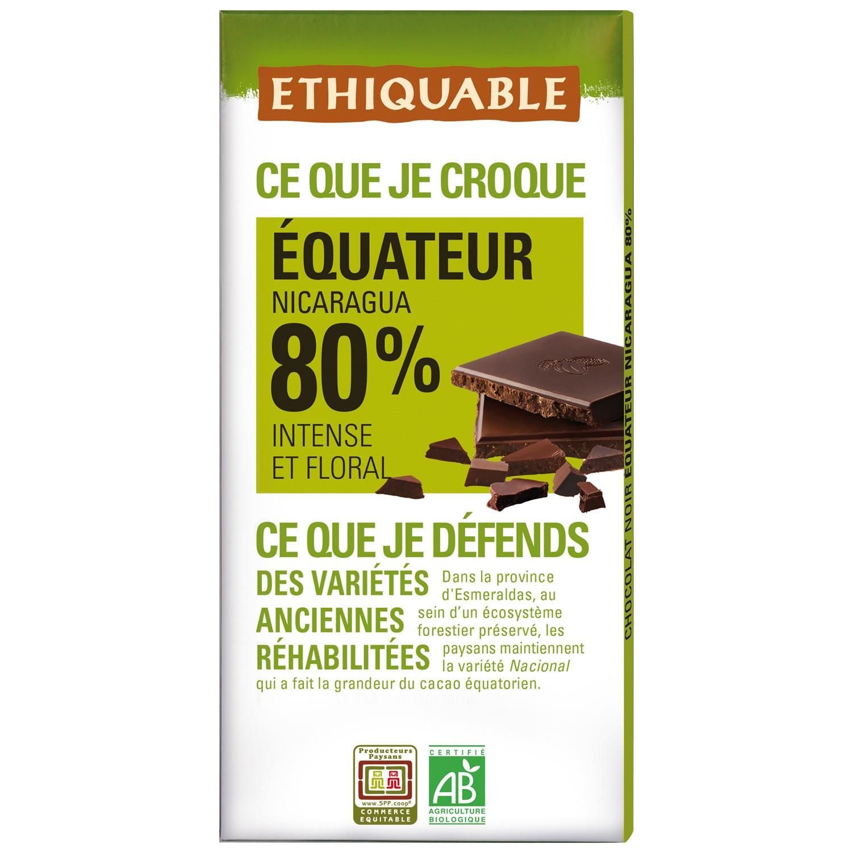Chocolat noir 80% BIO, Ethiquable (100 g)