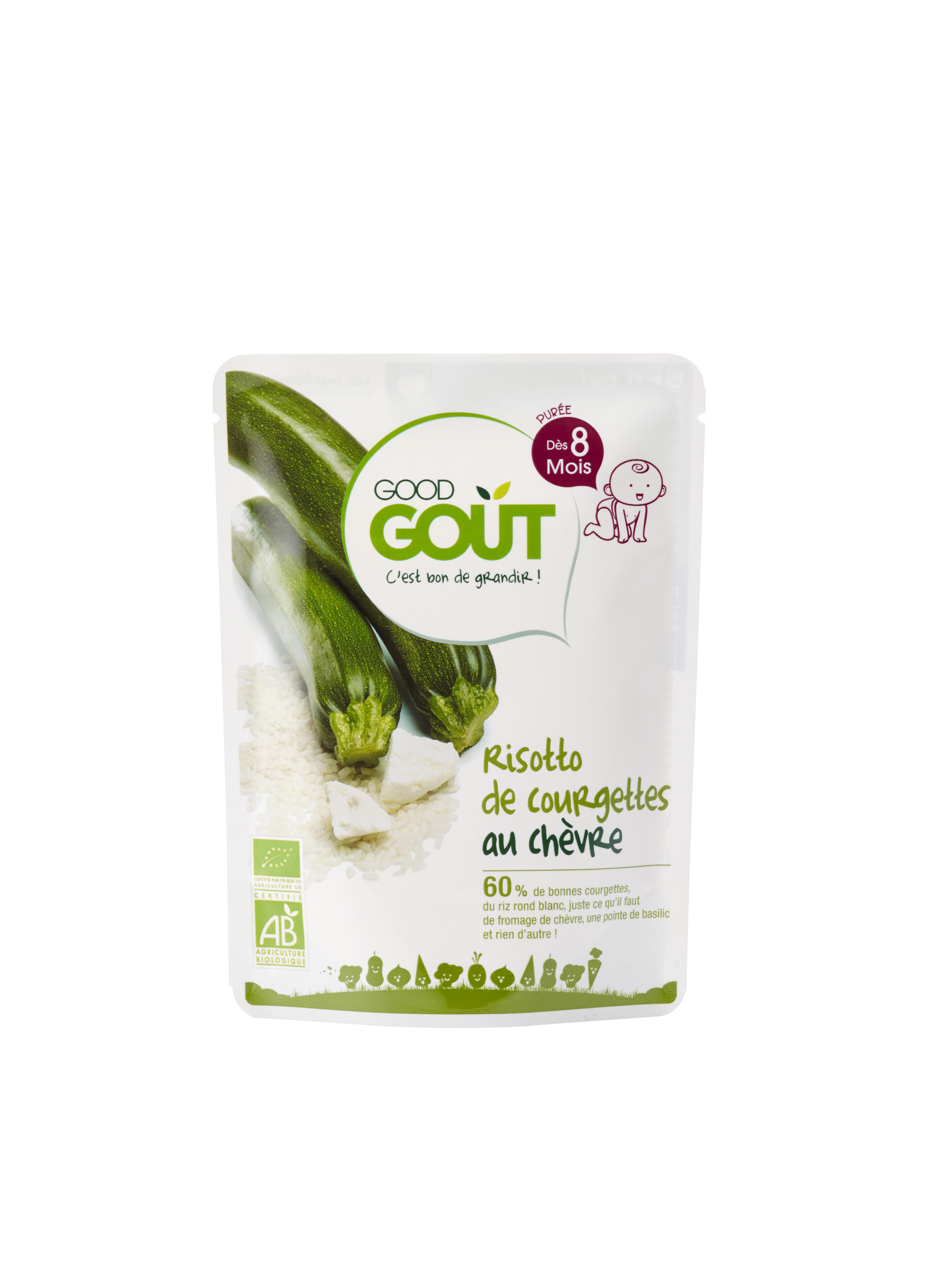 Risotto de courgettes au chèvre BIO, Good Goût (190 g) - dès 8 mois
