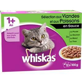 Sachets de viandes et poissons en sauce pour chats, Whiskas (12 x 100 g)