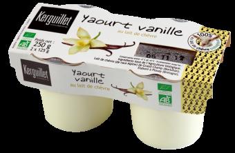 Yaourt au lait entier de chèvre vanille BIO, Kerguillet (x 2, 250 g)