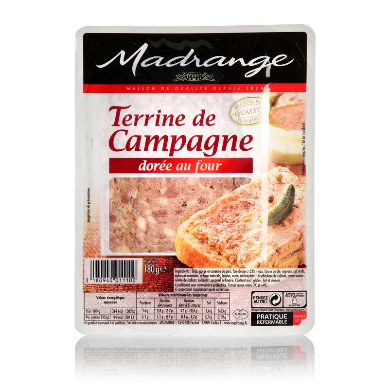 Terrine de campagne dorée au four, Madrange (180 g)