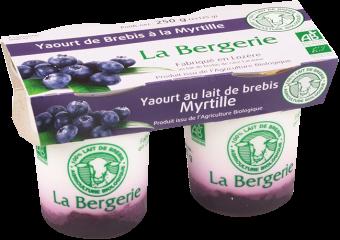 Yaourt au lait de brebis aux myrtilles, arôme bio, La Bergerie (2 x 125 g)