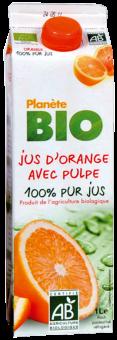 Jus d'orange avec pulpe frais BIO 100% pur jus, Planète Bio (1 L)