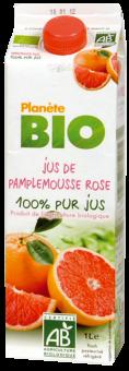 Jus de pamplemousse rose  frais BIO 100% pur jus, Planète Bio (1 L)