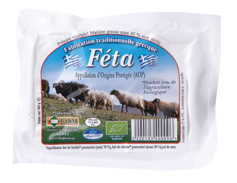 Féta AOP au lait pasteurisé 24 % MG/PF BIO, Biofarm (180 g)