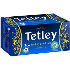 "Thé English Breakfast ""tir press"", Tetley (25 sachets)"