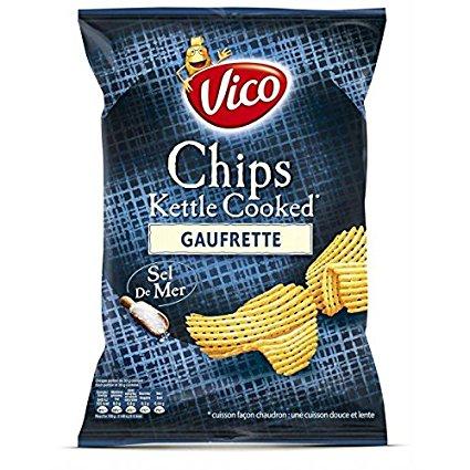 Chips gaufrette Kettle Cooked sel de mer, Vico (120 g)